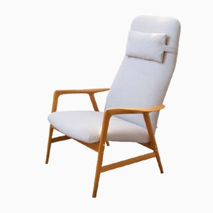 Vintage High-Back Armchair in Oak & Ivory Colored Fabric by Alf Svensson for Dux