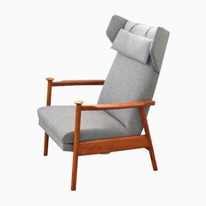 Sedia alata in stoffa grigia di Casala, anni '60