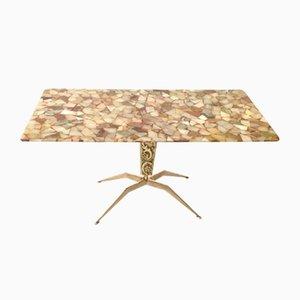 Table Basse en Bronze avec Plateau en Marbre, Italie, 1950s