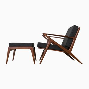 Z-Chair with Ottoman in Bangkok Teak by Poul Jensen for Haslev, 1957