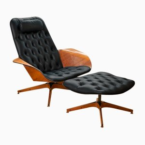 Vintage Mr. Chair Leather Lounge Chair by George Mulhauser for Plycraft
