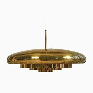 Lámpara colgante escandinava grande de latón, años 60