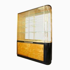 Illuminated Glass and Teak Veneered Display Cabinet, 1951