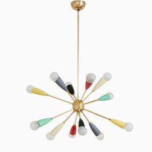 Lámpara de araña Sputnik colorida, años 50