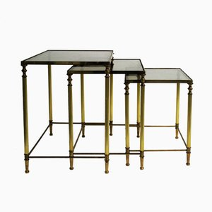 Set of Brass Neoclassical Nesting Tables, 1960s