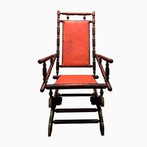 Rocking Chair Scandinave Vintage avec Cuir Patiné