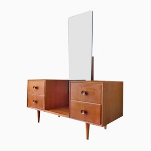 Vintage Oak Veneer Dressing Table with Mirror, 1960s