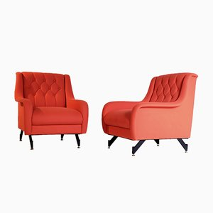 Italian Orange Armchairs, 1960s, Set of 2