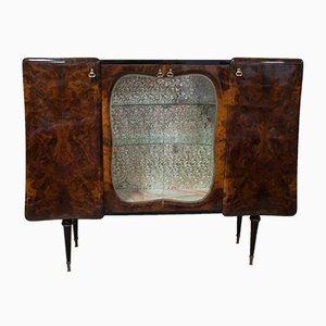 Mueble bar de nudo de nogal, años 50
