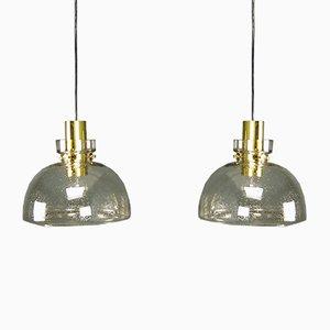 Lampade da soffitto in vetro color ambra di Limburg, anni '70, set di 2