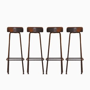 Tabourets de Bar Indsutriels Mid-Century, 1950s, Set de 4