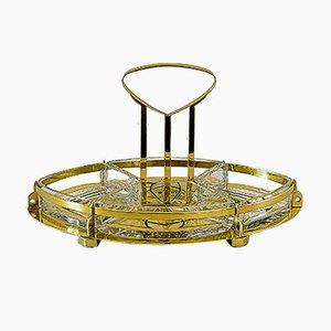 Centrotavola antico in ottone e vetro