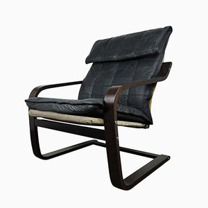 Vintage Danish Leather Cantilever Chair, 1970s