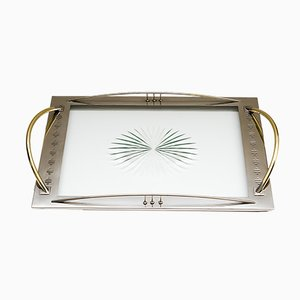 Art Deco Brass & Nickel-Plated Serving Plate, 1920s