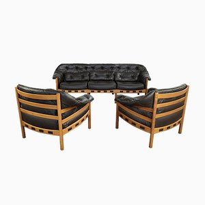 Mid-Century Teak & Leather Seating Group