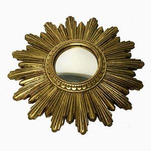 Espejo solar pequeño en dorado, años 60