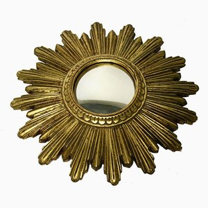 Specchio piccolo dorato a forma di sole, anni '60