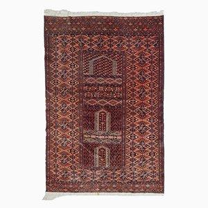 Alfombra de oración Hachli turcomana vintage hecha a mano, años 40