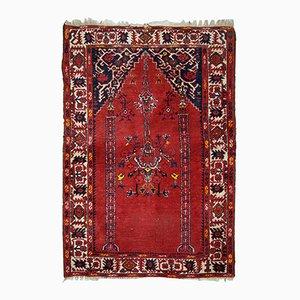Alfombra de oración turca vintage hecha a mano, años 40