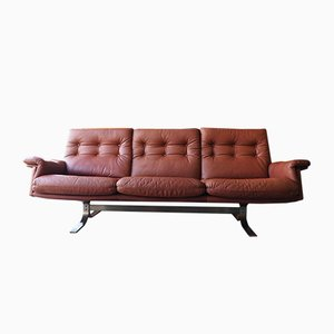 Reddish-Brown Leather 3-Seater Sofa by Frederik Kayser for Vatne, 1960s