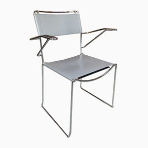 Vintage Italian Chrome & Leather Armchair