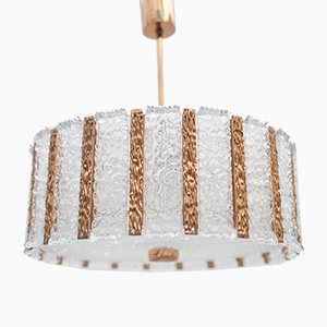 Large Ice Glass & Brass Chandelier from Kalmar, 1950s
