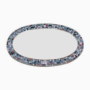 Großer ovaler Spiegel mit Mosaikrahmen, 1968