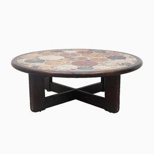 Tavolino da caffè rotondo grande vintage con piastrelle di Tue Poulsen per Haslev