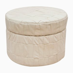 Vintage White Leather Patchwork Pouf, 1970s