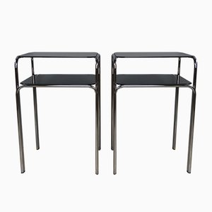 Chrome & Smoked Glass Side Tables, 1970s, Set of 2