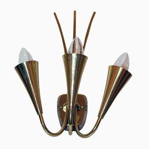 Lampada da parete con tre luci di Rupert Nikoll, anni '50
