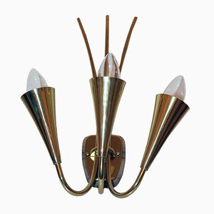 Wall Lamp with Three Lights by Rupert Nikoll, 1950s