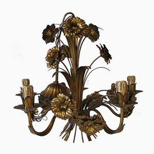 Lámpara de araña Hollywood Regency floral, años 60