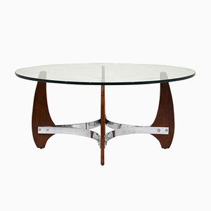Table Basse en Bois et Chrome, 1990s