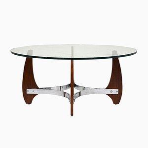 Tavolino da caffè in legno e placcato in cromo, anni '90