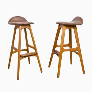 Model 61 Bar Stools by Erik Buch for O.D. Møbler, 1970s, Set of 2