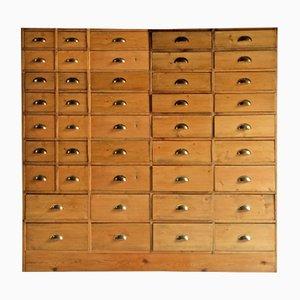 Cassettiera da merceria grande in legno di pino, anni '70