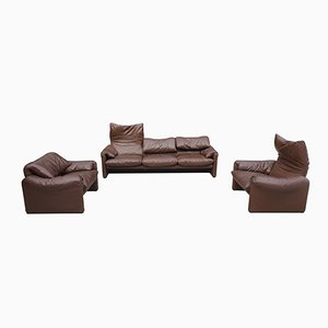 Chocolate Brown Living Room Set by Vico Magistretti for Cassina, 1980s