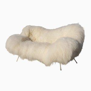 Sofá de piel de oveja de Fritz Neth, años 50