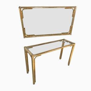 Espejo italiano vintage con marco de bambú de imitación de metal dorado, años 70