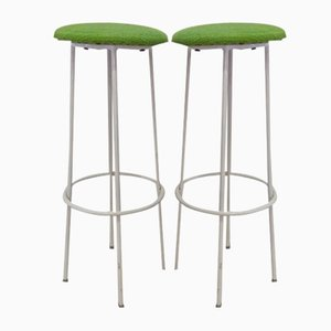 French White Lacquered Metal Barstools, 1950s, Set of 2