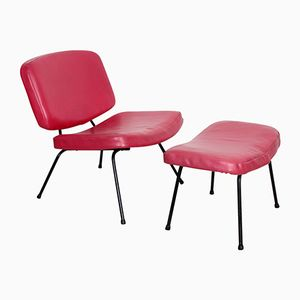CM 190 Fireside Chair with Footstool by Pierre Paulin for Thonet, 1955