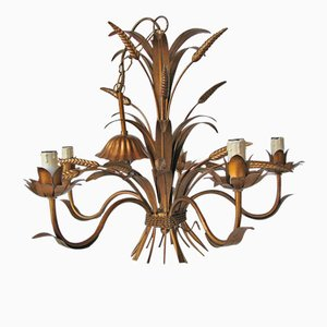 Mid-Century Gold-Colored Wheat Sheaf Chandelier from Karstadt AG