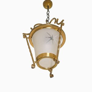 Art Deco French Brass Ceiling Lamp, 1940s