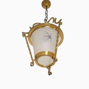 Französische Art Deco Messing Deckenlampe, 1940er
