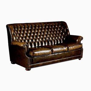 Sofá Pegasus de cuero marrón de Art Forma Upholstery Ltd, años 70