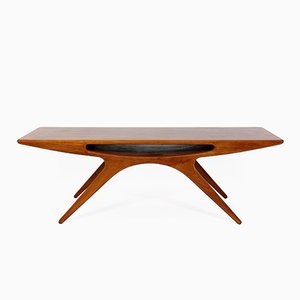 Smile Teak Veneer Coffee Table by Johannes Andersen for CFC Silkeborg, 1957