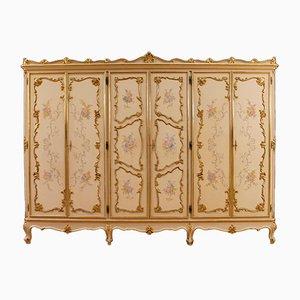 Armario italiano de madera lacada, dorada y pintada, años 50