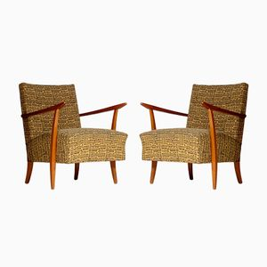 Club chair in sicomoro, anni '50, set di 2