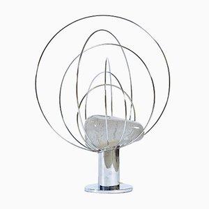 Lampada da tavolo in vetro di Murano e placcata in cromo di Angelo Brotto per Esperia, anni '60